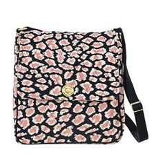 Amira Saddle Crossbody - For students, working or busy women who need to keep their tablet, computer or notebook safe and want a functional and stylish crossbody bag. Amira's Caviar Black, Bright White and pops of Blush Pink add a feminine twist to the timeless leopard print. The main compartment houses a padded tech sleeve (can fit an 11