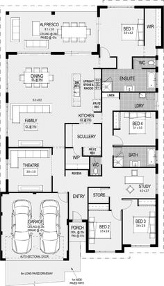 The Southport floorplan (Left side would face east, dining and kitchen southern light, bedrooms would get west- the sunsets! And north side protected by garages and porch.)😍 My House Plans, Modern House Floor Plans, Diy Projects Plans, Home Design Plans, Home Interior Design, House Blueprints, Sims House, Building Plans, Building A House