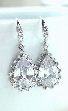 Sparkly Bridal Wedding Drop Earrings