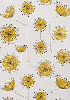 Cute in a nursery or little girl's room: Dandelion Mobile Porcelain with Yellow Wallpaper - by missprint.co.uk - 60 British pounds/roll