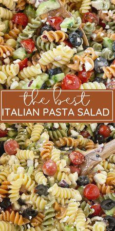 Pasta Salad Italian, Best Pasta Salad, Easy Pasta Salad Recipe, Summer Pasta Salad, Easy Pasta Recipes, Pasta Salad With Feta, Dressing For Pasta Salad, Pasta Salad Recipes Cold, Easy Cold Pasta Salad
