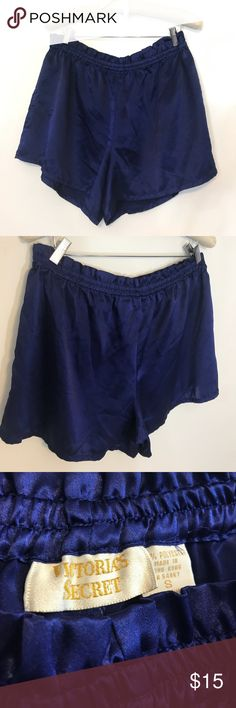 Vintage Style Victoria's Secret Sleep Shorts Silky, Shiny Dark Blue, 100% Polyester material. Tag says small, but these fit more like L-XL. The waistband has lost a little bit of elasticity. Great condition! No major signs of wear.  ღ ALL reasonable offers considered  ✘ Please, no LOWBALL offers  ツ BUNDLE & SAVE  Victoria's Secret Intimates & Sleepwear
