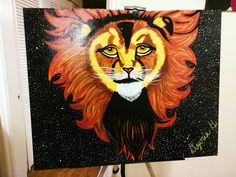 "Titled: ""Free"" 🌌🦁🌌 Acrylic Paint on 24x30"" Stretched Canvas -Original Artwork 🤗  #Art#Artist#SupportArtists"