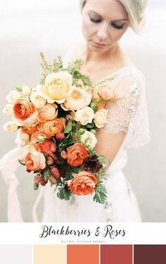 Blackberries & Roses Fall Wedding Color Palette || Fall Wedding Ideas…