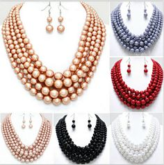 NEW ARRIVALS STYLE N14 Women Fashion Colorful Imitation Pearls Necklace Unique Design Layers Acrylic Beads Chains Jewelry 6Color