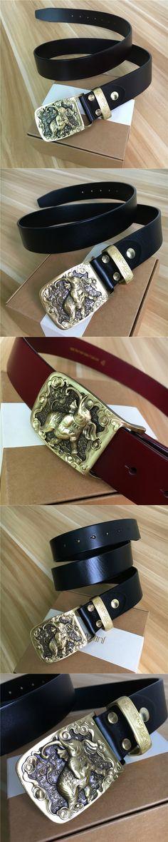 Mens Belts Luxury Elephant Belt Buckle Genuine Leather Men Belt Wide Ceinture Homme Cinturones Hombre Cowboy Jeans Belt MBT0375