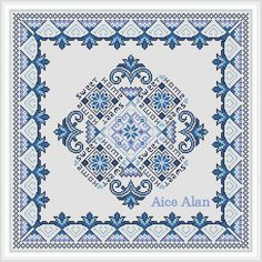 Cross Stitch Pattern Folklore Home Sweet Home blue paintings napkins pillows Counted Cross Stitch Pattern/Instant Download Epattern PDF File