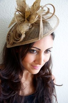 """Bronze Beige Fascinator - """"Lucy"""" Mesh Hat Fascinator with Mesh Swirl Ribbons and Feather Flowers"""