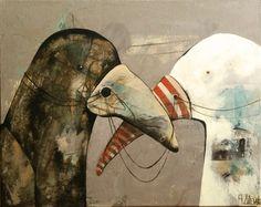 Birds on the leash, painting, acrylic on canvas || Ptaki na uwięzi, obraz, akryl na płótnie