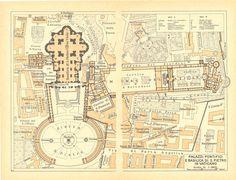 1949 Vatican City Plan by CarambasVintage. Saint Peter Square, Gian Lorenzo Bernini, St Peters Basilica, Roman Architecture, Old Maps, Vatican City, City Maps, Free Travel, Old City