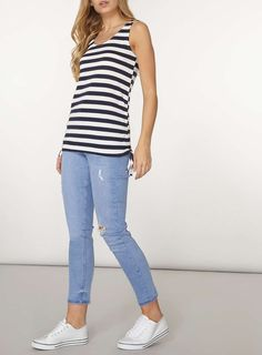 Womens Navy Stripe Ruched Side Tank Top- Blue