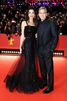 Amal Clooney steals the show in vintage Saint Laurent at Berlin Film Festival Neon Prom Dresses, Sherri Hill Prom Dresses, Gala Dresses, Quinceanera Dresses, Strapless Dress Formal, Formal Dresses, Sparkly Dresses, Celebrity Couples, Celebrity Style