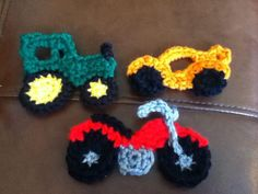 Crochet Tractor, Race Car, and Motorcycle Appliques that can be added to hats, diaper covers or blankets ( tractor applique pattern by http://www.ravelry.com/patterns/library/tractor-applique-2 ) race car-http://www.ravelry.com/patterns/library/race-car-applique motorcycle applique pattern http://www.ravelry.com/patterns/library/motorcycle-applique
