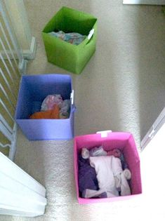 "Assign each child in your house a ""clean laundry"" bin, and make them take their…"