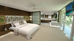 Chris Clout Design master bed and bathroom in Noosa with lighting and interiors