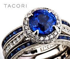Love sapphires?  Try them as twins surrounding your engagement ring like this... | www.goldcasters.com