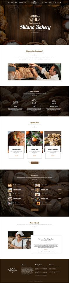 Milano is a stunning #PSD Template for Bakeries, #Cake & Coffee #Shops website with 3 unique homepage layouts and 16 organized PSD pages download now➩ https://themeforest.net/item/milano-stunning-bakery-psd-template-for-bakeries-cake-coffee-shops/19108936?ref=Datasata