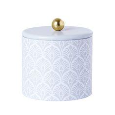 Burk Nova - Heminredning - Burk i plåt med guldknapp. Snygg dekoration för förvaring av små föremål.