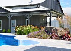 Adding Low-Maintenance, Colourful Gardens Around Pool | A Touch of Dutch Low Maintenance Landscaping, Low Maintenance Garden, Coral Bells Heuchera, Colorful Garden, Ornamental Grasses, Natural Stones, Perennials, Dutch, Gardens