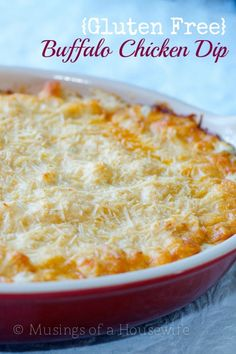 This Buffalo Chicken Dip is ALWAYS a hit at parties and get togethers. The secret is the fresh roasted chicken. It has AMAZING flavor. Even my kids gobble it up. Bring this dip to your next social gathering with celery and tortilla chips, and you wil Gf Recipes, Gluten Free Recipes, Cooking Recipes, Healthy Recipes, Easy Recipes, Recipies, Pollo Buffalo, Buffalo Chicken, Buffalo Dip