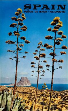 A nice old poster showing the famous outcrop of Peñón de Ifach, at Calpe on the Costa Blanca.