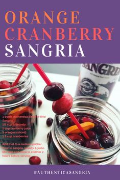 Sweet berry flavors with a hint of zesty orange. You can enjoy this drink all year round but it is especially good during the cooler months! Sangria Recipes, Cocktail Recipes, Cranberry Sangria, Halloween Themed Food, Juice 3, Orange Slices, Baking Ingredients, Cookie Dough, Berries
