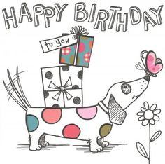 Birthday card - 'Sausage Dog'