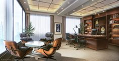 Corner office - Visual Novel background by giaonp on DeviantArt Law Office Design, Office Interior Design, Office Interiors, Episode Interactive Backgrounds, Episode Backgrounds, Anime Places, Corner Office, Office Background, Anime Scenery Wallpaper
