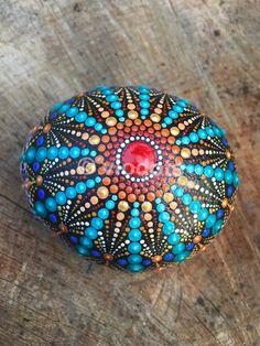 Mandala Stone, handpainted
