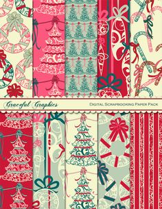 Digital Scrapbook Paper Pack CHRISTMAS Tree BULBS Red PINK Green White 10 Digital Background Papers 8.5 x 11 Scrapbooking 1266gg. $3.00, via Etsy.