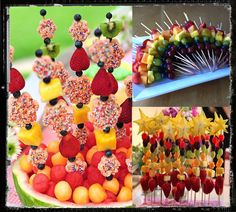 Love the fruit kabobs in rainbow colors--would be cute for Hungry Caterpillar theme food Food Snacks Für Party, Luau Party, Diy Party, Party Ideas, Deco Fruit, Bon Dessert, Fruit Kabobs, Fruit Art, Fun Fruit