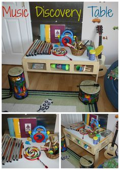 Preschool Discovery Table: Music And Sound- Preschool Discovery Table: Music And Sound Set up an open invitation to enjoy music with a preschool music and sound table perfect for early learning play at home or in the classroom. Preschool Centers, Preschool Music, Music Activities, Preschool Classroom, Teaching Music, Preschool Learning, Learning Centers, Early Learning, Preschool Activities