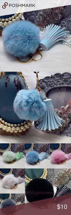 Sky blue pom pom keychain with tassel purse charm NWOT! Brand new!! Made with Rabbit fur & PU leather Gold hardware.  Size: (approx) Ball Diameter = 8cm  Its a keychain, you can also use it to put as purse charm, key fob or whatever your heart desires.   Great gift for your family, friends or your self.  ** color might be slightly different cause of the lightning  Great for your Louis Vuitton, Prada, Fendi, Chanel, Michael Kors, Gucci, Coach Tory Burch, Kate spade, Marc jacobs and others…