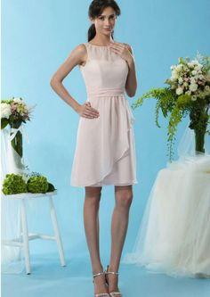 2015 Zipper Scoop Blush Sleeveless Ruched Chiffon Short Bridesmaid / Prom Dresses By Eden 7446