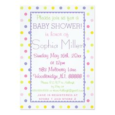 Pastel Polka Dot Baby Shower 5x7 Paper Invitation Card