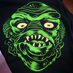 """""""Get our Gill-man Creature shirt on our website or at the @sxsshop This is vibrant discharge """"soft"""" print; the inks won't crack or fade over time …"""""""