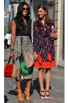Fashionable friends indulge in prints, textures, and statement heels.