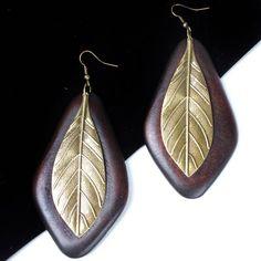 Women New Fashion Dark Brown Faux Wood Triangle Bronze Leaf Earrings