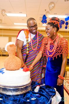 Bride & groom from Benin ethnic group of Nigeria