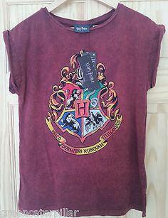 HARRY POTTER PRIMARK T SHIRT Hogwarts burgundy WOMENS LADIES new sizes 6 - 20