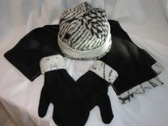 """Took Cal Patches idea """"How to Make Hats from Recycled Sweaters"""" a bit further, by making mittens from the sweater sleeves, and trimming some polar fleece with the sweater leftovers for coordinating..."""