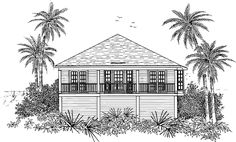 Eplans Low Country House Plan - Island Living is Grand - 1076 Square Feet and 2 Bedrooms from Eplans - House Plan Code HWEPL10416