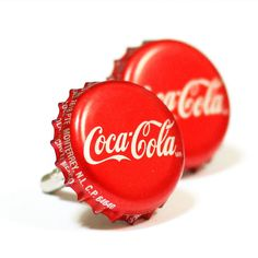 Red Coca-Cola Coke Soda Pop Bottle Cap Cufflinks Cuff Links