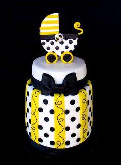 Bee Baby Shower Cake - by CuteologyCakes @ CakesDecor.com - cake decorating website