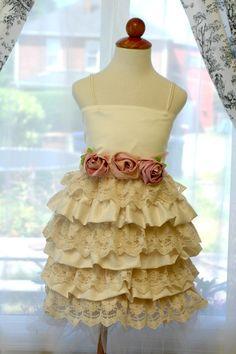 Vintage style flower girl dress. Bridal rosette sash flowergirl dress. Special occasion dress, birthday party dress. Sizes 1-4 on Etsy, $118.00