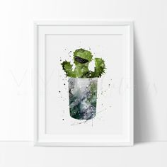 Oscar the Grouch Sesame Street Nursery Art Print Wall Decor. Affordable handmade nursery art prints that compliment any style nursery project you have in mind.