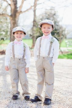 Little boys in caps, suspenders, and big smiles = ring bearers who will take down the house // Alisandra Photography