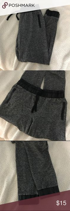 Grey joggers with faux leather Grey joggers with faux leather Pants Leggings
