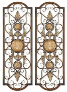 Tuscan Tall Scrolling Wrought Iron Wall Grill Set of 2 by Uttermost, http://www.amazon.com/dp/B00141A8ZQ/ref=cm_sw_r_pi_dp_z9lzrb182VH18