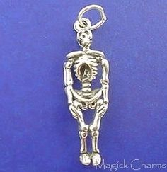 Human Skeleton Halloween 3D .925 Solid Sterling Silver Charm Pendant MADE IN USA
